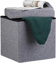 Relaxdays Faltbarer Sitzhocker, 38 x 38 x 38 cm, Sitzcube als Fußablage, Sitzwürfel aus Leinen, Deckel zum Abnehmen, dunkelgrau
