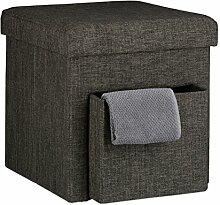 Relaxdays Faltbarer Sitzhocker, Leinen, Aufbewahrungs-Fach, abnehmbarer Deckel, Sitzwürfel, stabil, bis 300 kg, HxBxT 38 x 38 x 38 cm, verschiedene Farben, braun