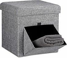 Relaxdays Faltbarer Sitzhocker, Leinen, Sitzwürfel, Aufbewahrungsbox mit Klappe, abnehmbarer Deckel, Sitzcube, stabil, Fußablage, HxBxT 38 x 38 x 38 cm, grau