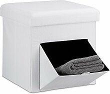 Relaxdays Faltbarer Sitzhocker, Leinen, Sitzwürfel, Aufbewahrungsbox mit Klappe, abnehmbarer Deckel, Sitzcube, stabil, Fußablage, HxBxT 38 x 38 x 38 cm, weiß
