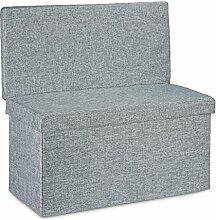 Relaxdays Faltbarer Sitzhocker mit Lehne L HBT 73 x 76 x 38 cm Sitzbank und stabiler Sitzcube als Fußablage Sitzwürfel aus Leinen als Aufbewahrungsbox Truhenbank mit Stauraum mit Deckel, grau