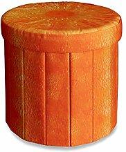 Relaxdays faltbarer Sitzhocker mit Stauraum HBT ca. 38 x 38,5 x 38,5 cm Sitzwürfel runder Hocker mit trendigem Obst Motiv Falthocker Sitzbank mit Aufbewahrungsbox mit ca. 30 l Stauraum, Orange