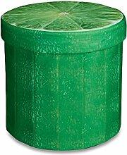 Relaxdays faltbarer Sitzhocker mit Stauraum HBT ca. 38 x 38,5 x 38,5 cm Sitzwürfel runder Hocker mit trendigem Obst Motiv Falthocker Sitzbank mit Aufbewahrungsbox mit ca. 30 L Stauraum, Limette