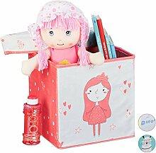Relaxdays Faltbox Kinder, Aufbewahrungsbox mit