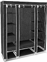 Relaxdays Faltschrank groß H x B x T: 175,5 x 148 x 43cm Stoffschrank mit Kleiderstange und 12 Ablagen als Garderobenschrank und Campingschrank zum Falten Kleiderschrank aus Stoff staubsicher, schwarz
