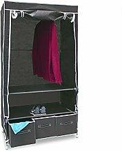 Relaxdays Faltschrank VALENTIN L HxBxT: 162 x 88 x 48 cm Stoffschrank mit 3 Schubladen und 2 Ablagen Textilschrank zum staubsicheren Aufbewahren Kleiderschrank aus Vlies-Gewebe zum Falten, anthrazi
