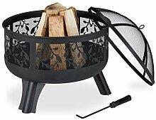 Relaxdays Feuerschale mit Funkenschutz, Garten &