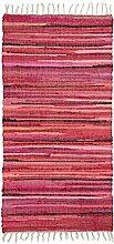 Relaxdays Flickenteppich 70 x 140 cm mit Fransen aus Polyester und Baumwolle, mehrfarbig, Fleckerlteppich, ro