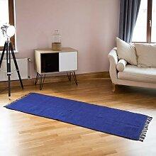 Relaxdays Flickenteppich blau 80 x 200 cm mit