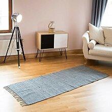 Relaxdays Flickenteppich grau 80 x 200 cm mit