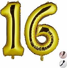 Relaxdays Folienballon Zahl 16, Party Deko,