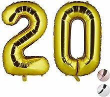 Relaxdays Folienballon Zahl 20, Deko für