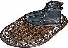 Relaxdays Fußabtreter Gusseisen mit Bürsten oval
