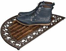 Relaxdays Fußabtreter Gusseisen mit Bürsten rund