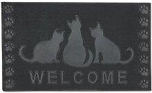Relaxdays Fußmatte Gummi mit Katzen-Motiv Welcome