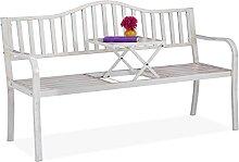 Relaxdays Gartenbank mit klappbarem Tisch,