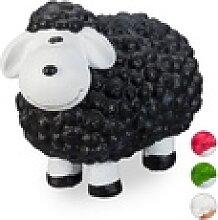 relaxdays Gartenfigur Gartenfigur Schaf schwarz