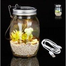 relaxdays Gartenleuchte Solarlampe Glas mit USB