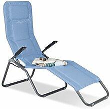 Relaxdays Gartenliege XXL bis 150 kg belastbar, große Bäderliege mit Kippfunktion, Sonnenliege mit Polsterung, blau