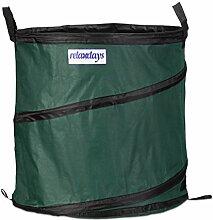 Relaxdays Gartensack Pop up 3er Set 162 Liter stabil, faltbar, wasserdicht, Stützstreben, Laubtasche mit 3 Griffen, grün