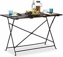 Relaxdays Gartentisch klappbar aus Massivholz, flacher Garten-Esstisch für 4 Personen, groß HxBxT: 75x120x60 cm, braun