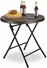 Relaxdays Gartentisch klappbar BASTIAN, rund, H x