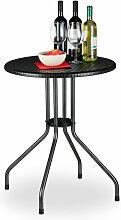 Relaxdays - Gartentisch rund, Rattan Optik,