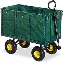 Relaxdays Gartenwagen, großer Bollerwagen mit