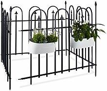 Relaxdays Gartenzaun Metall GOTH Komplettset 4,8 m, Metallzaun aus Eisen, 4 Zaunelemente 90 x 120 cm, anthrazit, schwarz