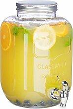 Relaxdays Getränkespender 5 l, Glas, Zapfhahn,