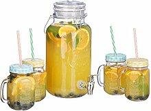 Relaxdays Getränkespender Set, 4 l, 4 Gläser,