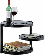 Relaxdays Glas Couchtisch mit 3 Ablagen, runder