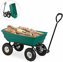 Relaxdays, grün Kippwagen, Gartenwagen mit