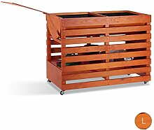 Relaxdays Hochbeet aus Holz, mit Rollen, Ablage,