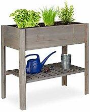 Relaxdays Hochbeet Holz, Ablagefach, Pflanzkasten