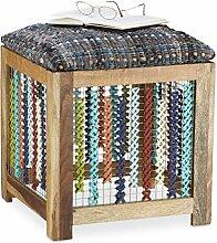 Relaxdays Hocker Holz, handgefertigter Fußhocker, gemusterter Sitzwürfel für Kinder, HxBxT: 47 x 41 x 42 cm, natur/bun