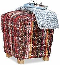 Relaxdays Hocker Stoff ohne Lehne, eckiger Pouf, Schottland Muster, gepolsterter Fußhocker mit Holzbeinen, 40x40 cm, ro