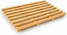 Relaxdays Holzvorleger aus Bambus (TBH 36,5 x 56,5 x 3) Badvorleger Holzrost Duschvorleger Badematte