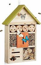 Relaxdays Insektenhotel Butterfly, Nistkasten für Bienen, Schmetterlinge, für Balkon, HxBxT: 41,5 x 27,5 x 8,5 cm, grün