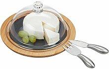 Relaxdays Käseglocke mit Käsebrett, Stahl