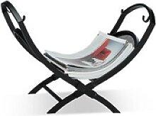 relaxdays Kaminholzkorb 40,0 l schwarz 43,5 x 32,0