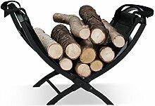 Relaxdays Kaminholzkorb mit Tragetasche, faltbar, aus Stahl, faltbar, Zeitungshalter, HxBxT: 32 x 43,5 x 32 cm, schwarz