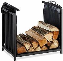 Relaxdays Kaminholzständer mit Holztragetasche,