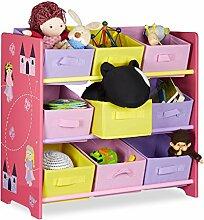 Relaxdays Kinderregal FUNNY mit Prinzessinnen-Motiv, Aufbewahrungsregal mit 9 faltbaren Stoffboxen, HBT: ca. 63 x 65 x 30 cm, rosa
