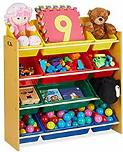 Relaxdays Kinderregal, mit 12 Aufbewahrungsboxen,