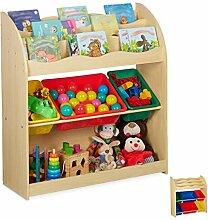 Relaxdays Kinderregal mit 3 Aufbewahrungsboxen,