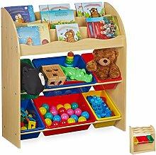 Relaxdays Kinderregal mit 6 Aufbewahrungsboxen,