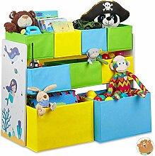 Relaxdays Kinderregal mit 9 Stoffboxen,
