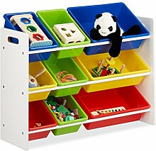 Relaxdays Kinderregal mit Regalboxen,