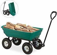 Relaxdays Kippwagen, Gartenwagen mit Kippfunktion,